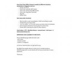 Hiring part-time office & house cleaners in Singapore!