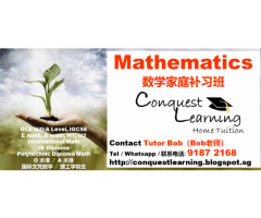 IGCSE, GCE N/O/A Level Mathematics Home Tuition by Full Time Male Tutor Call 9187-2168 数学补习班