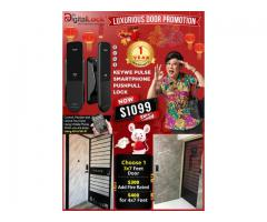 CHINESE NEW YEAR PROMOTIONS ON LUXURIOUS DOOR + KEYWE PULSE SMARTPHONE PUSHPULL DIGITAL LOCK