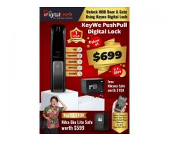 KEYWE Push Pull Digital Lock Promotion at $699 ONLY. Get FREE SAFE worth $159.
