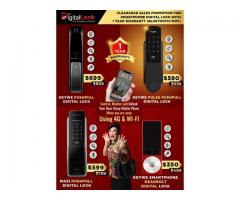 Clearance Sales Promotion for KEYWE and Mazi Push Pull Digital Lock starting from $580.