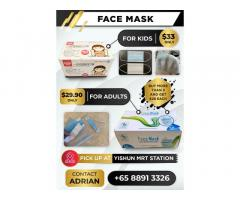 BUY Face Mask now at $29.90 for Adults.Kids Face Mask also Available . CALL Adrian 88913326